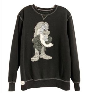 DISNEY PARKS Grumpy Monochrome Patchwork Sweater